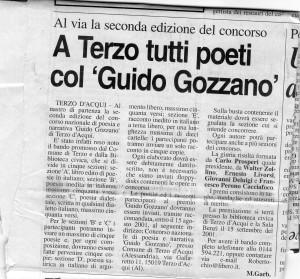 """Seconda edizione Concorso Guido Gozzano - Articolo Massimo Garbarino su """"Il Piccolo di Alessandria"""" - 2001"""