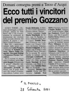 Articolo Massimo Garbarino - Seconda Edizione 2001