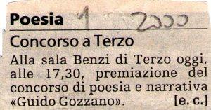 2000 - Prima edizione Concorso Guido Gozzano - 16 dicembre 2000 - La Stampa
