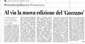 Articolo Giancarlo Perazzi - Il Piccolo - XIII° CONCORSO GUIDO GOZZANO - 2012